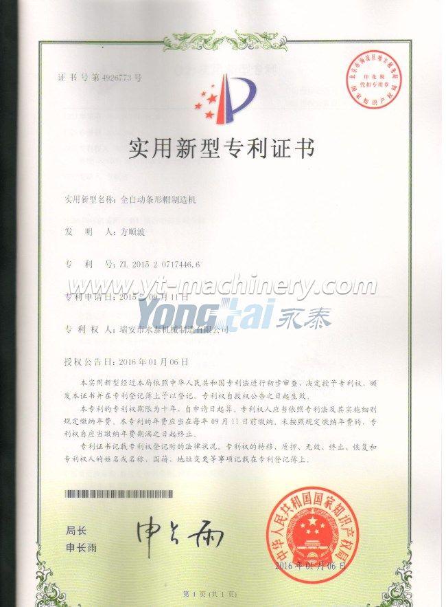 Patent Certificate 1